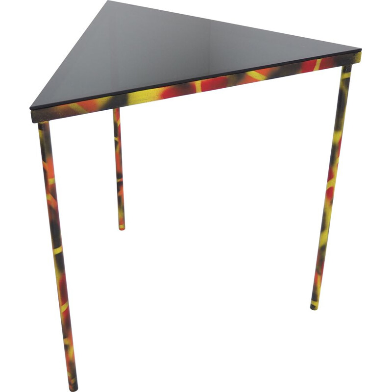 Vintage Industrial Smoked Glass and Steel Triangle Corner Side Table, 1990s