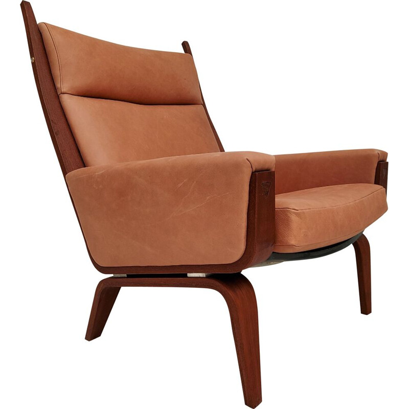 Vintage Armchair top mahogany, leather H.J.Wegner, GE501A, Danish 1970s