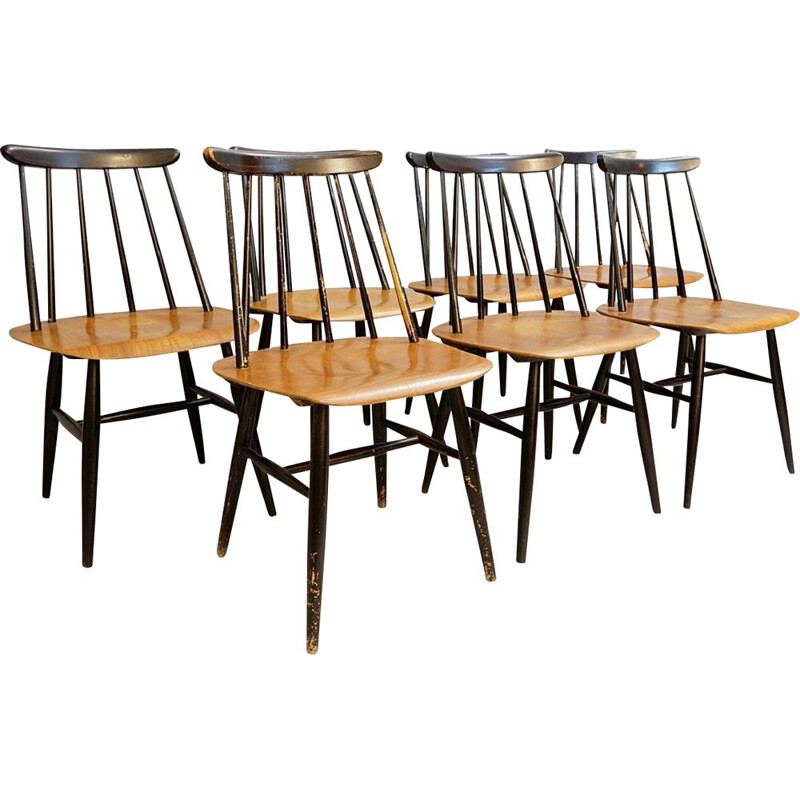 "Set of 7 vintage chairs ""Fanett"" by Ilmari Tapiovaara for Edsby Verken"