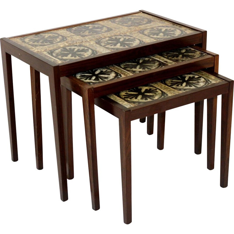 Vintage nesting tables in rosewood and ceramic, Sweden 1960