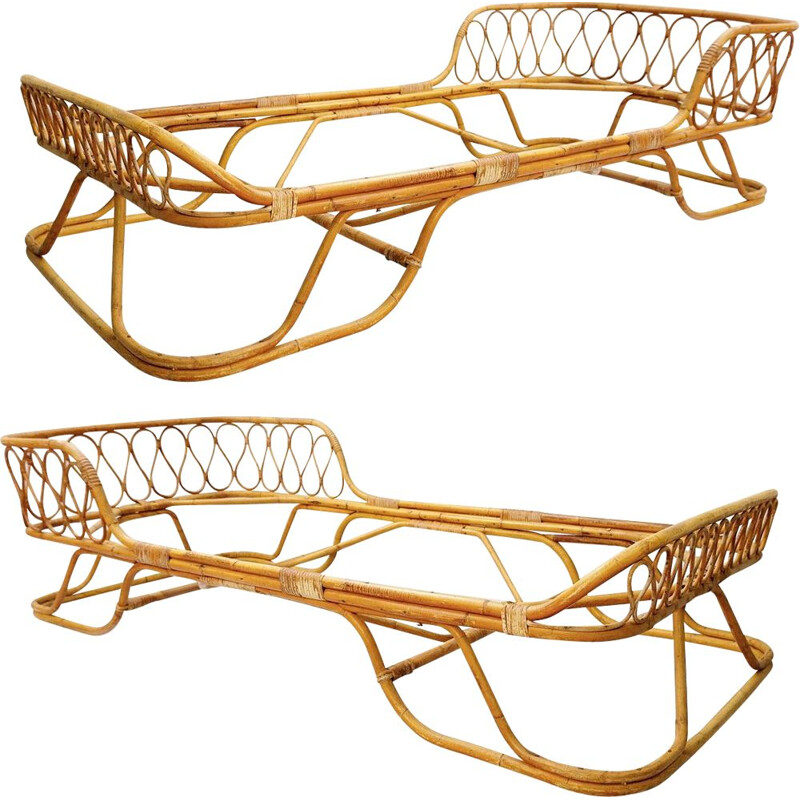 Vintage rattan and bamboo single beds