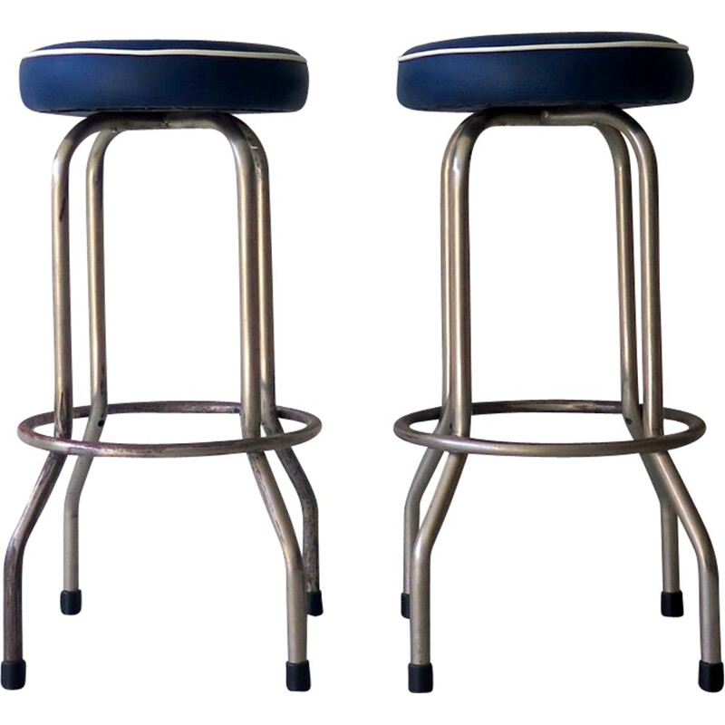 Pair of  vintage blue metal and imitation leather stools 1950s