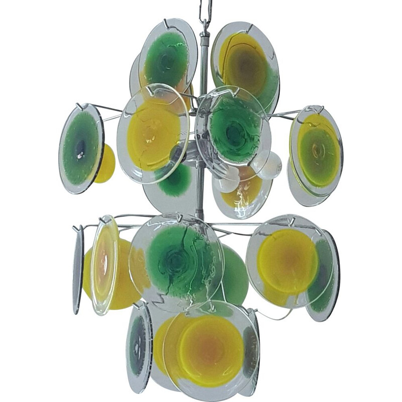 Vintage Green and Yellow Muranoglass Disc Chandelier by  Gino Vistosi, 1950