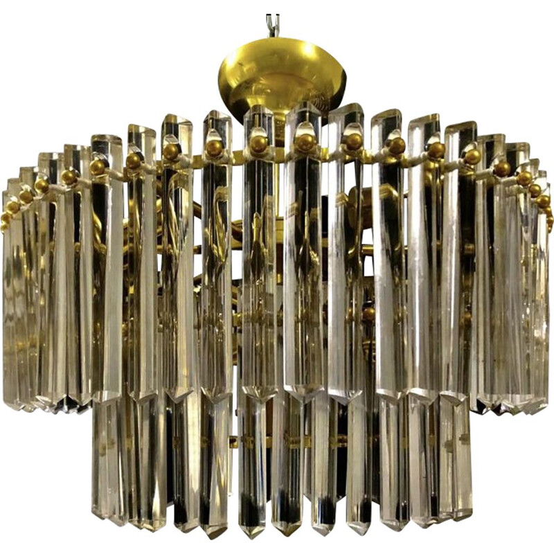 Vintage Glass and Brass Chandelier from Venini, 1960s