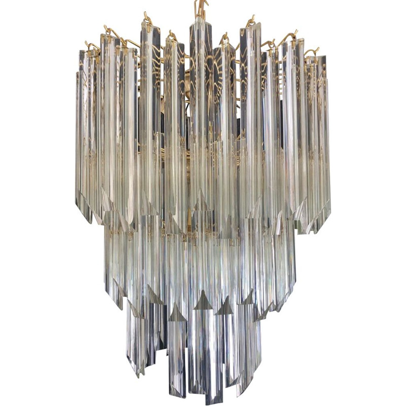 Vintage Gilt 3-Tier Chandelier by Venini, 1980s