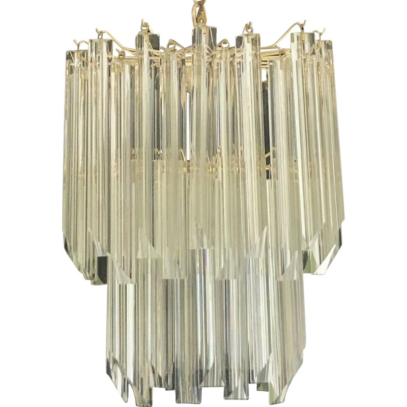 Vintage Gilt 2-Tier Chandelier by Venini, 1980s