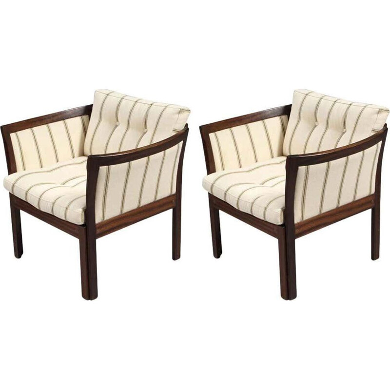Pair of Vintage Easy Chairs in Mahogany and White Illum Wikkelso  Plexus Danish 1960s
