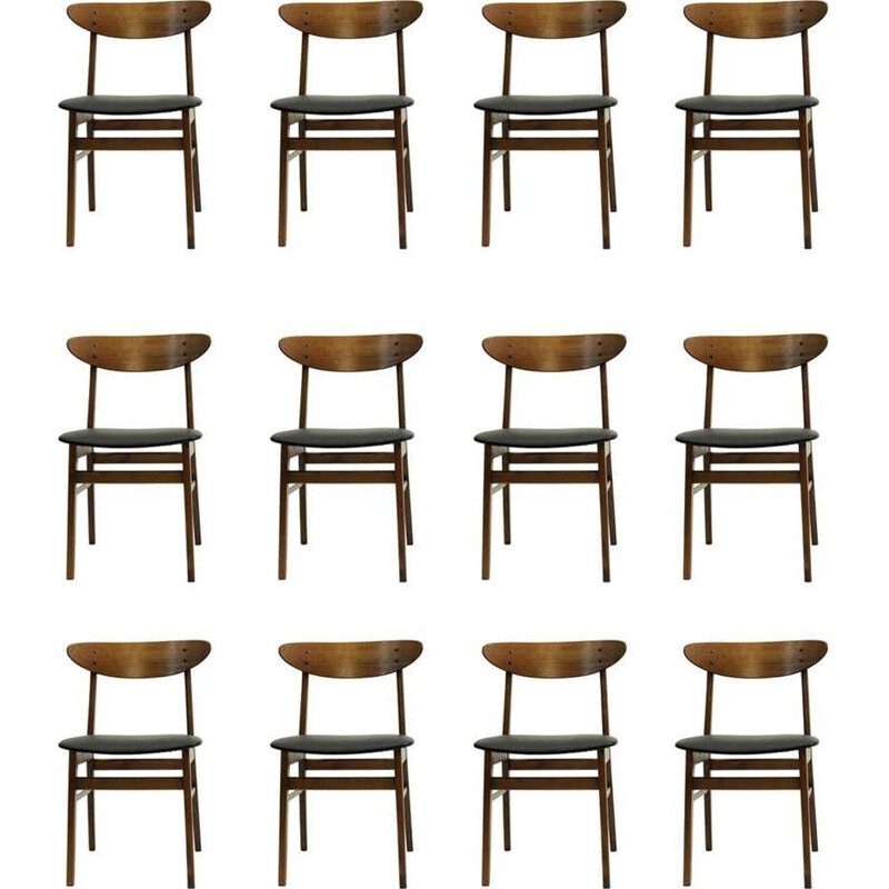 Set of 12 vintage Danish Dining Chairs in Teak and Beech, by Th. Harlev for Farstrup Mobler 1960s