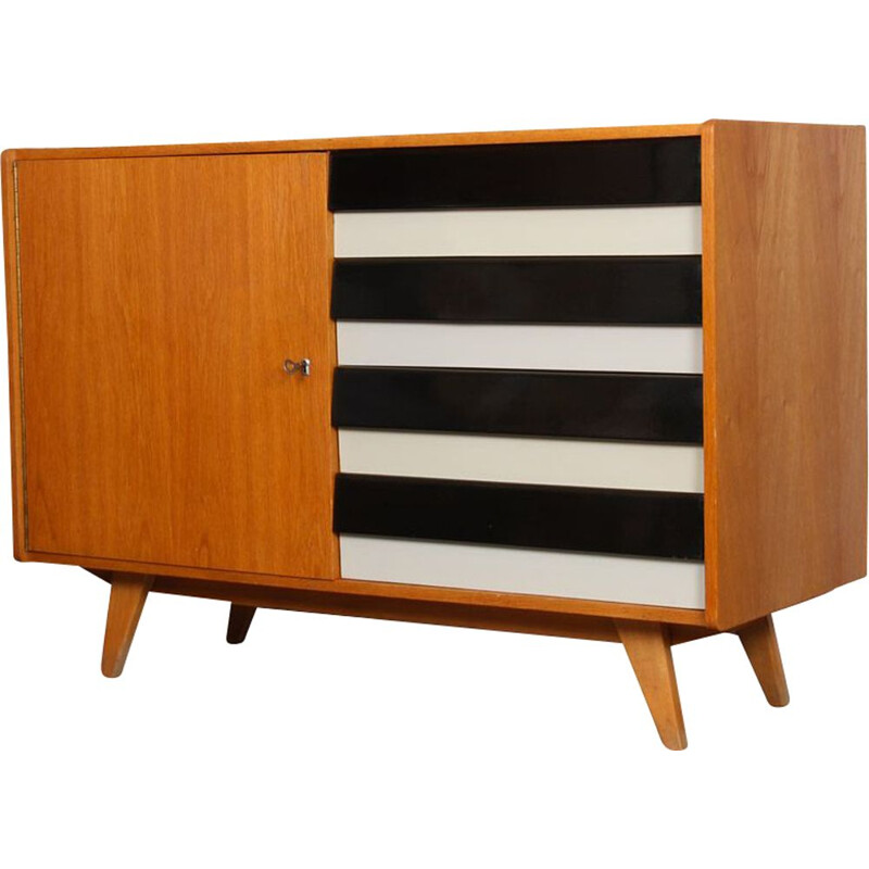 Vintagr oak chest of drawers model U-458 by Jiri Jiroutek, 1960