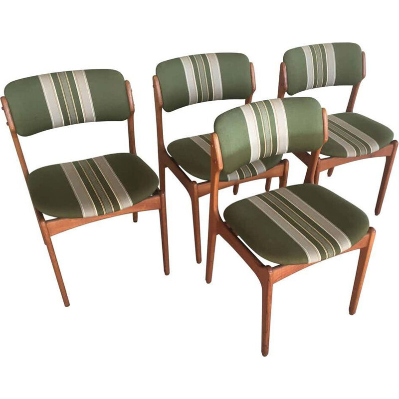Set of 4 vintage Teak Dining Chairs, Inc. Reupholstery  Erik Buch 1960s