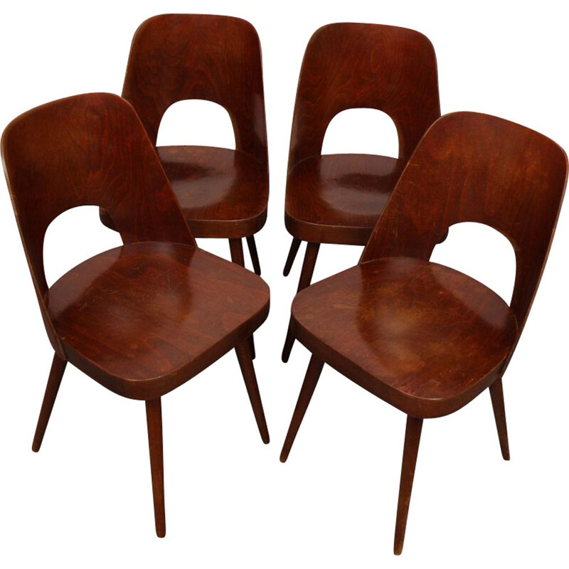 Set of 4 vintage chairs by Oswald Haerdtl for Ton, 1960