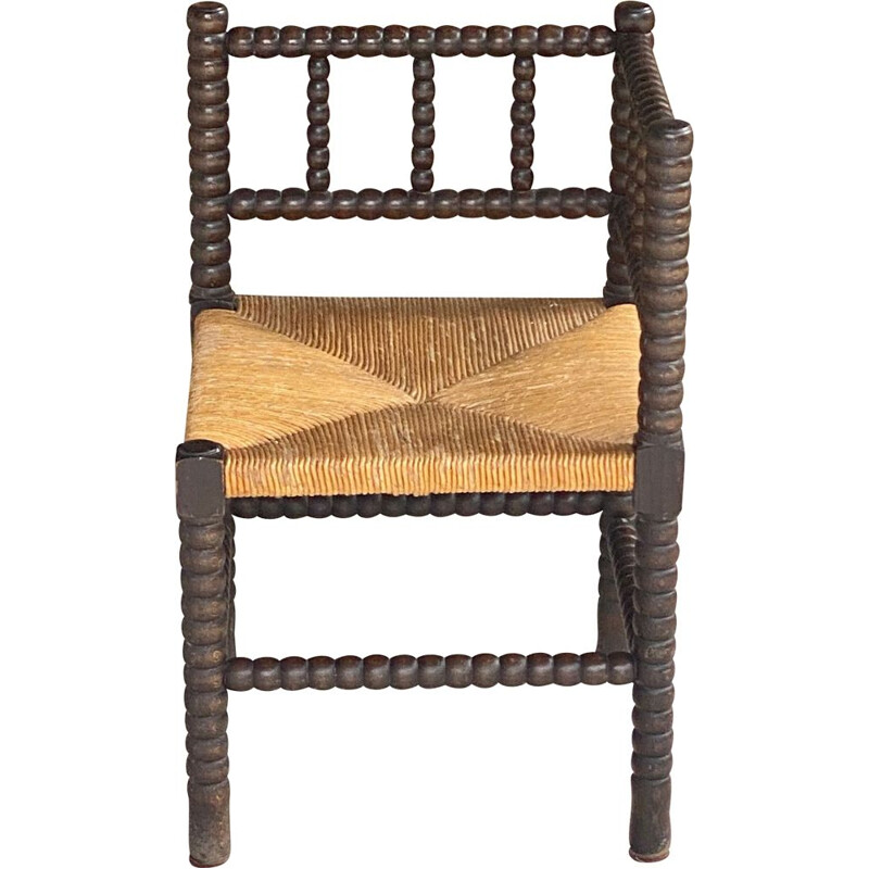 Vintage stool in wood and straw, brown and yellow, France 1970