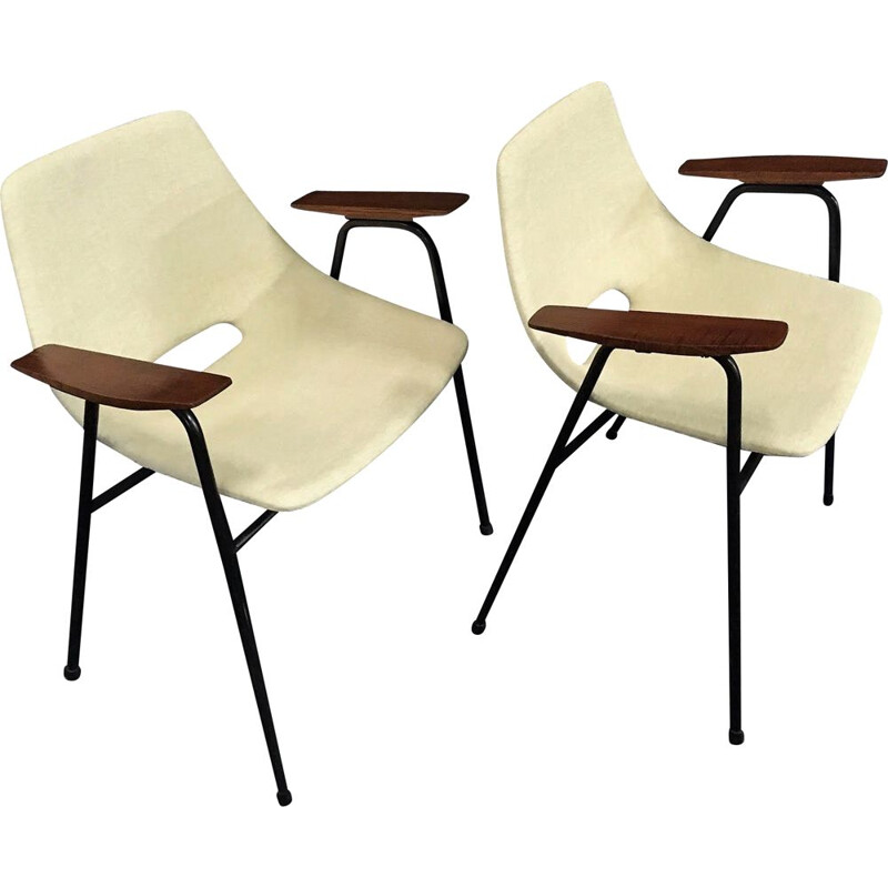 Pair of vintage bridge armchairs model Tonneau by Pierre Guariche - Steiner Edition - 1954