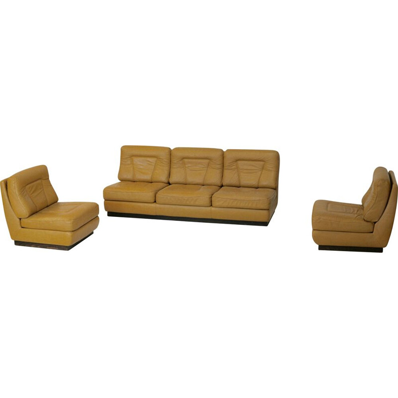 Set of sofa and pair of vintage leather chauffeuses by Jacques Charpentier in dark yellow leather France, circa 1970.