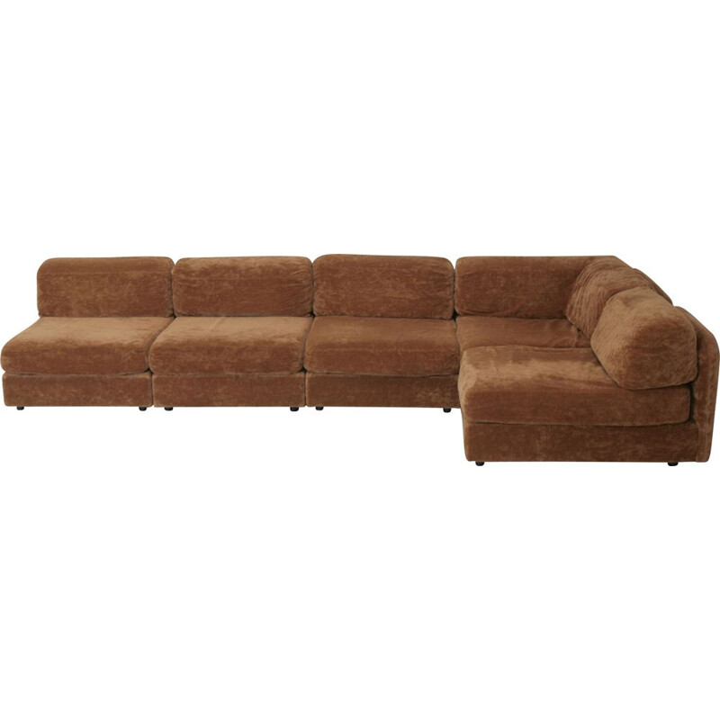 vintage sofa light brown velvet modular 1970's