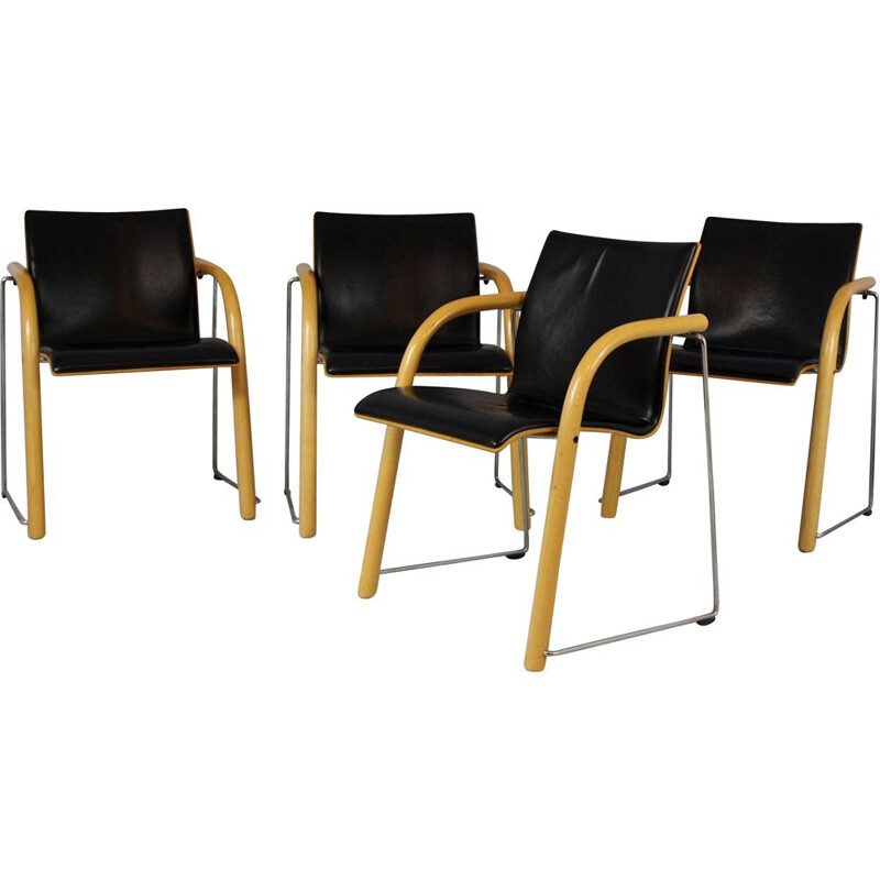 Set of 4 vintage stacking chairs by Wulf Schneider & Ulrich Böhme for Thonet 1984