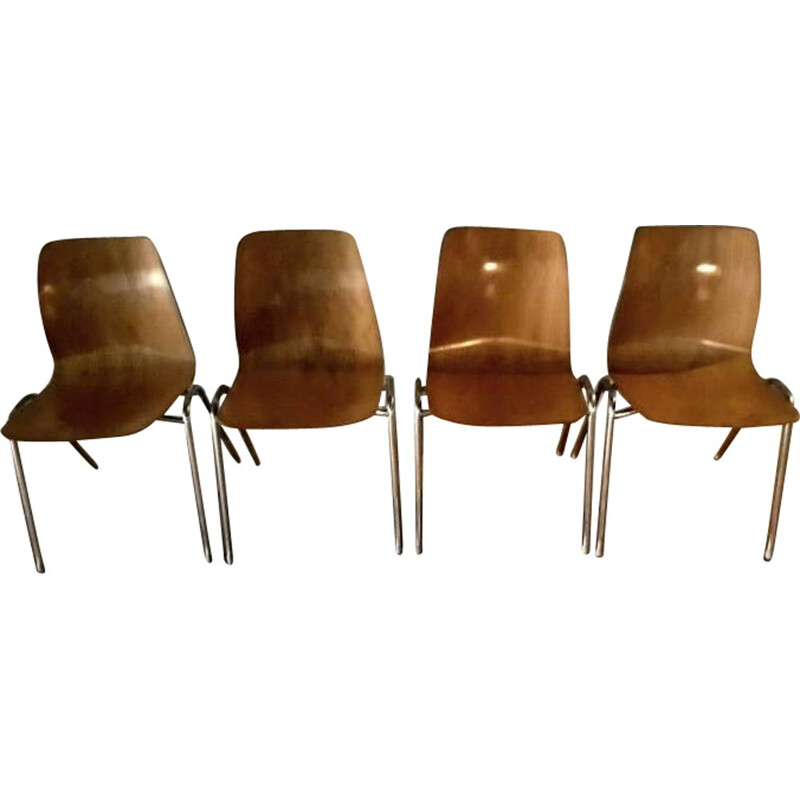 Set of 4 vintage Pagholz bicolor chairs, 1960