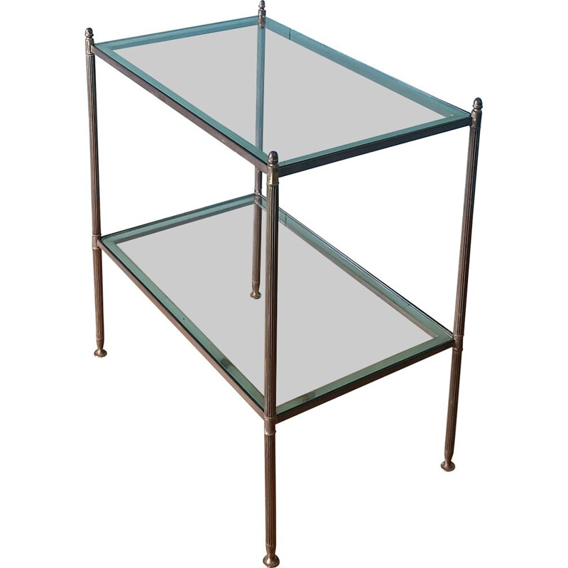 Vintage side table by Maison Bagues Brass & glass 1950s