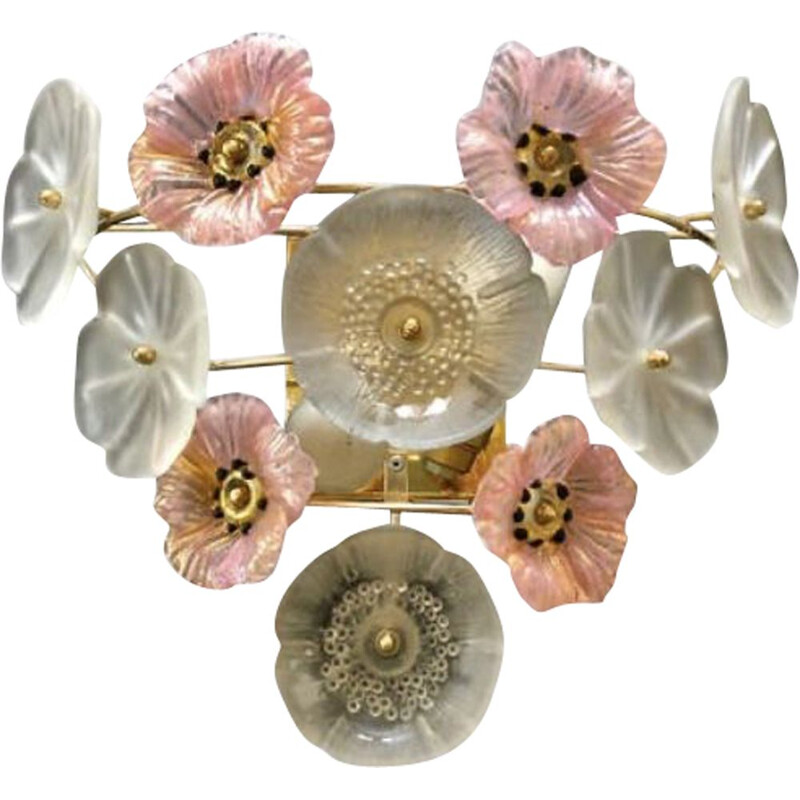 Vintage wall light Murano bouquet of flowers 1980