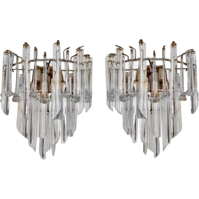 Pair of large vintage wall lights Venini murano glass 1970