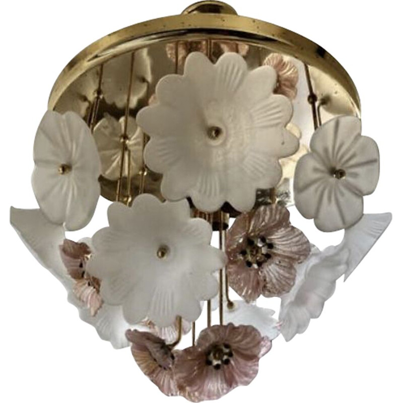 Vintage ceiling chandelier bouquets of flowers Murano 1980