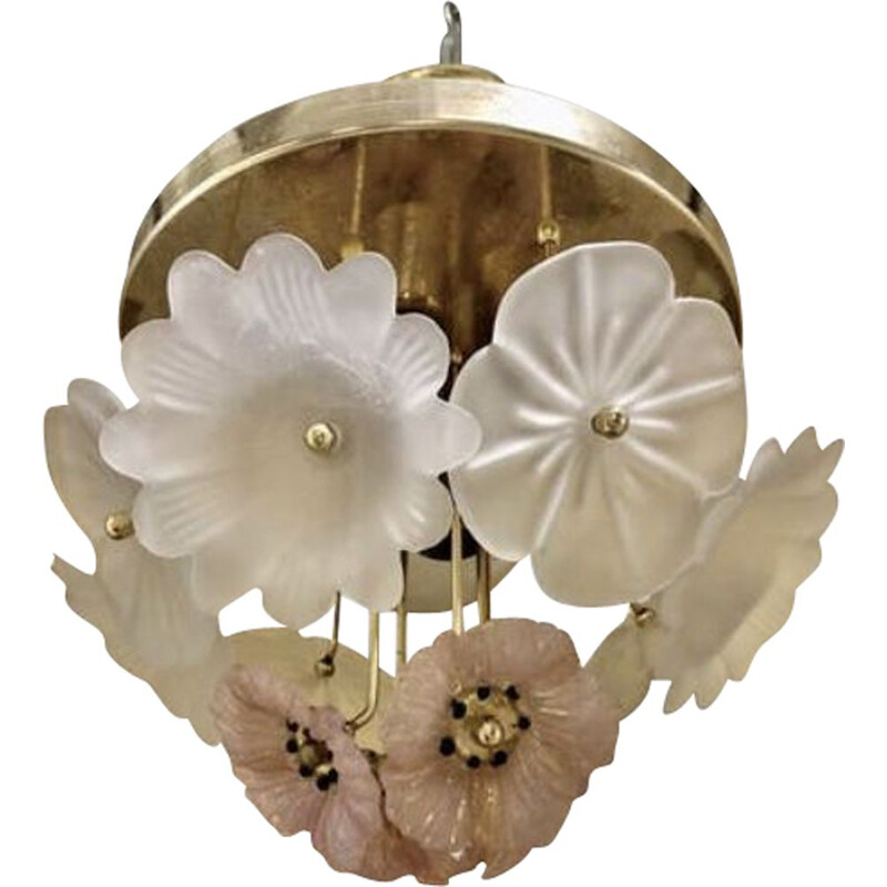 Vintage ceiling chandelier bouquet of flowers Murano 1980