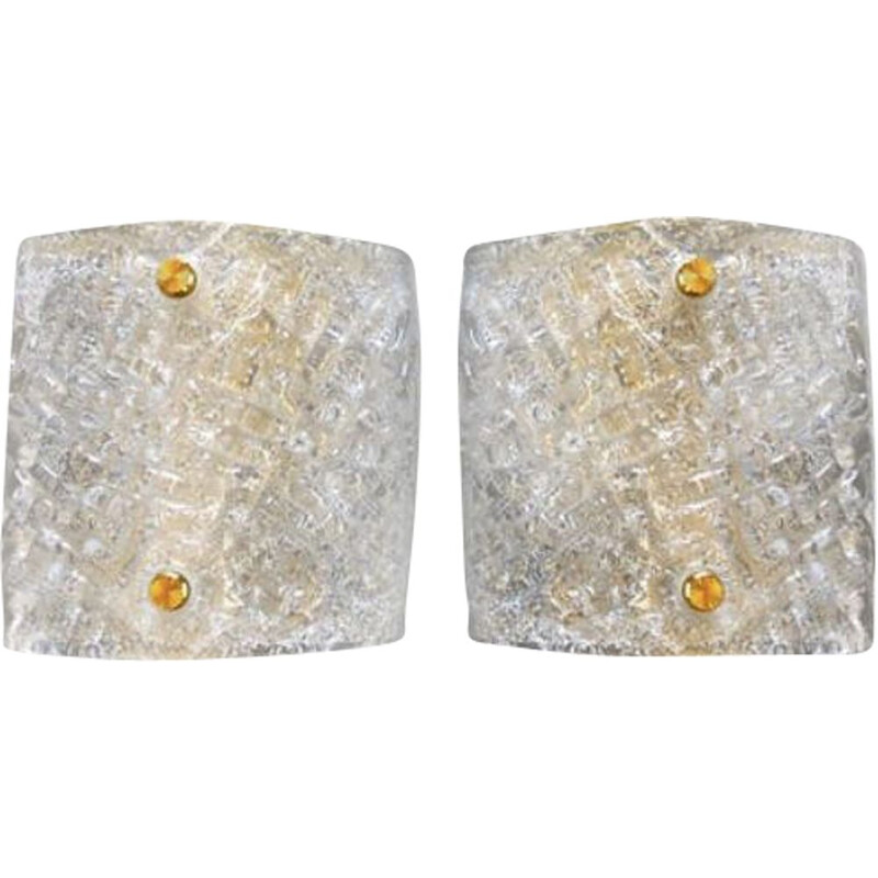 Pair of Barovier vintage glass wall lights with gold structure 1980