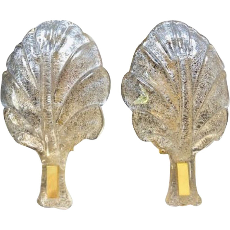 Pair of vintage Barovier sconces in the shape of a leaf 1980
