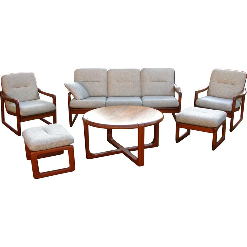 Set of vintage sofa and 2  armchairs with footrests  teak wood denmark