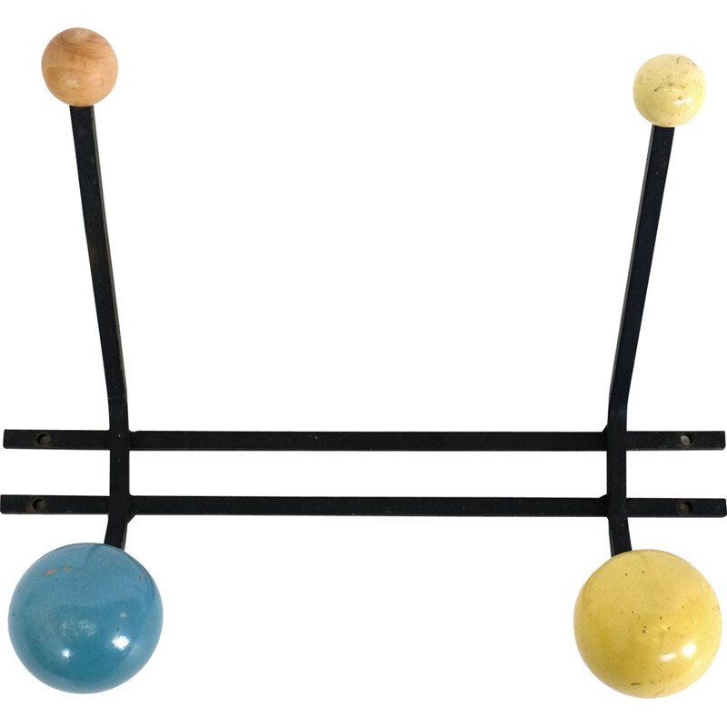Vintage coat rack yellow and blue 1970