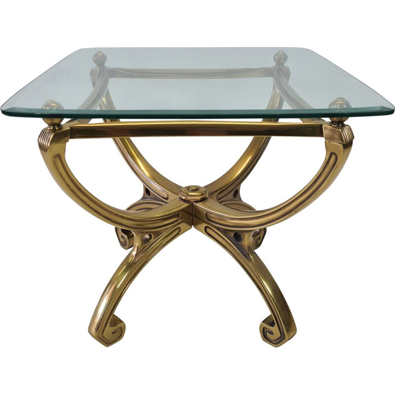 Vintage brass sculpture side table with glass top French 1990s