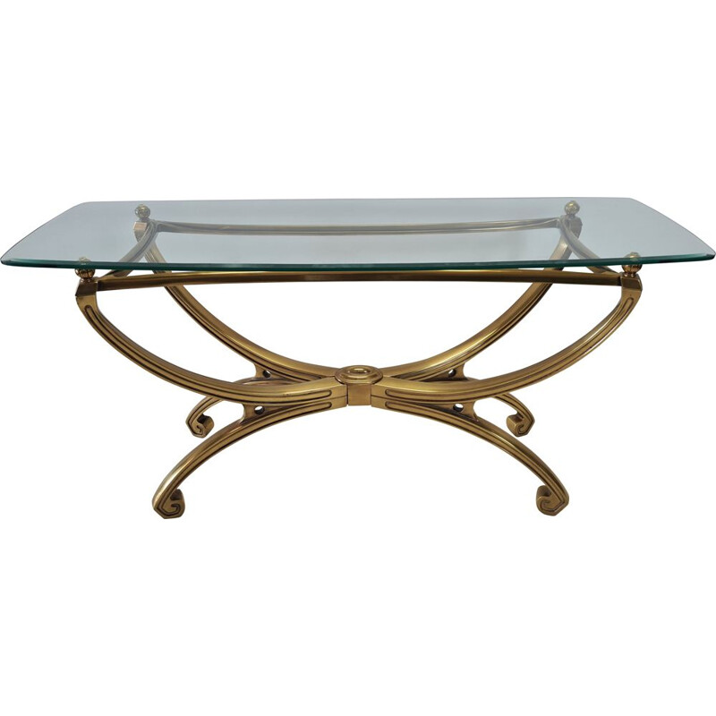 Vintage brass sculpture console table with glass top French 1990s