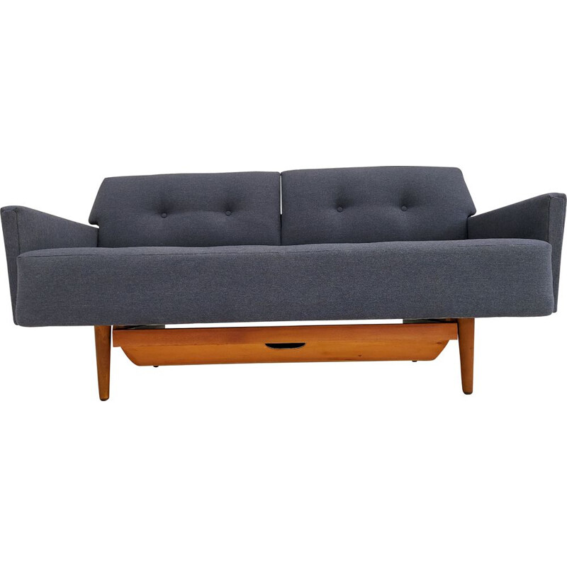 Vintage sleeping sofa completely reupholstered Swedish 1970s