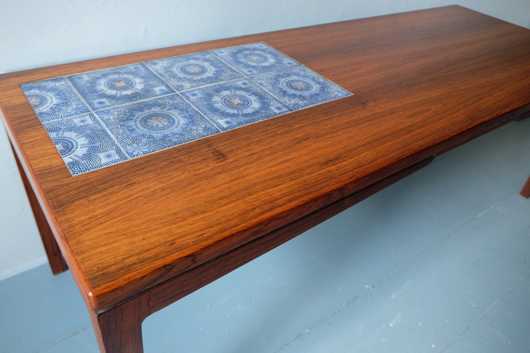 Danish rosewood coffee table with ceramic tiles decor - 1960s ...