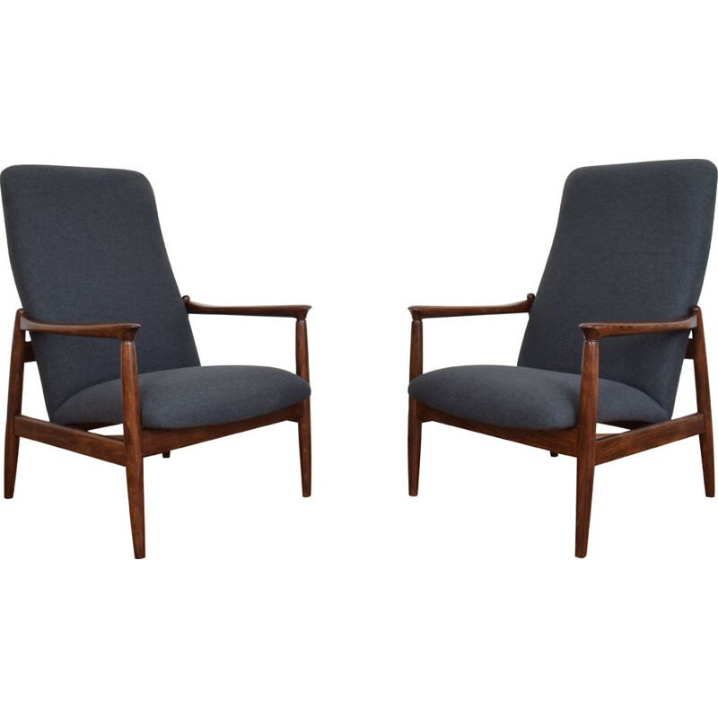 Pair of Mid-Century Polish Lounge Chairs by E. Homa, 1960s