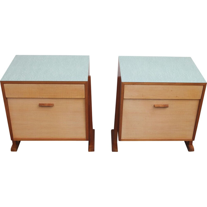 Pair of vintage bedside tables nightstands 1950s