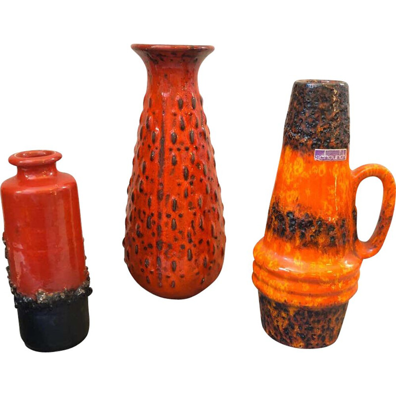3 Mid-Century Lava Keramik Vases and Pitchers 1970