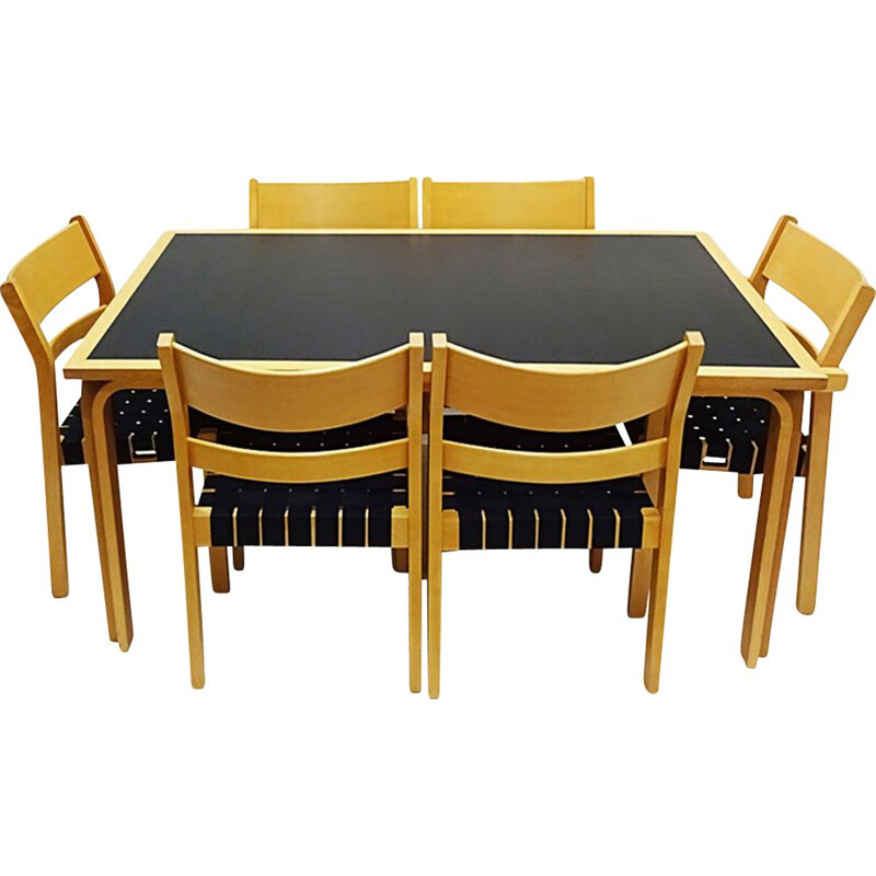 Vintage chair dining set with a table and 6 chairs Hans Wegner bentwood Koldinghus