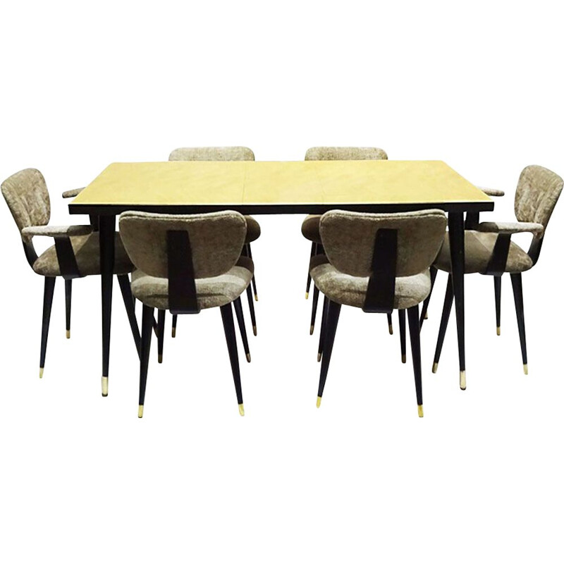 Early Mid Century vintage space saving dining set with 6 butterfly chairs Italian 1950s