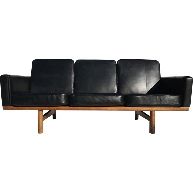 Vintage black sofa H.J Wegner Getama 2363 in oak and leather 3 seats