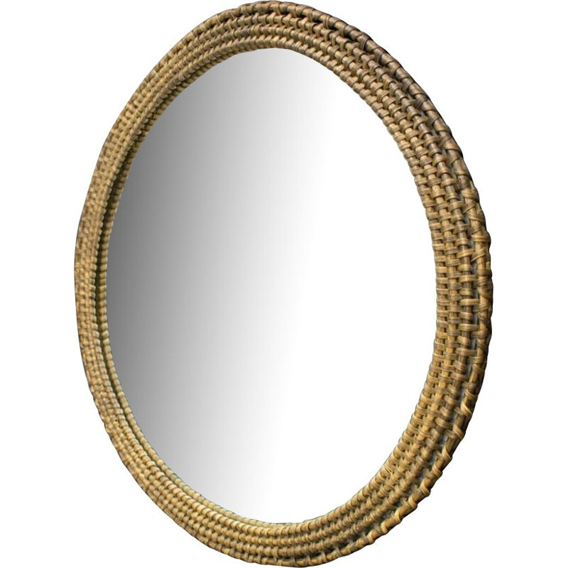 Vintage Round Wicker Wall Mirror Danish 1960s