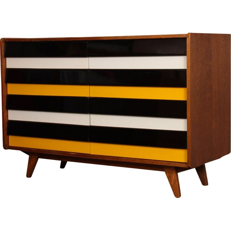 Vintage yellow and black chest of drawers, model U-453, by Jiri Jiroutek, 1960