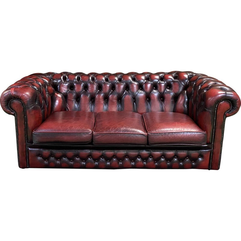 Vintage red leather Chesterfield sofa 3 seats 1980