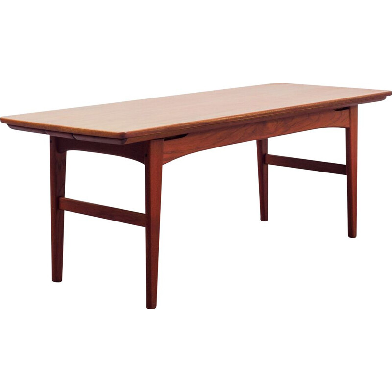 Mid Century teak coffee table dining table, extendable and height-adjustable 1960s