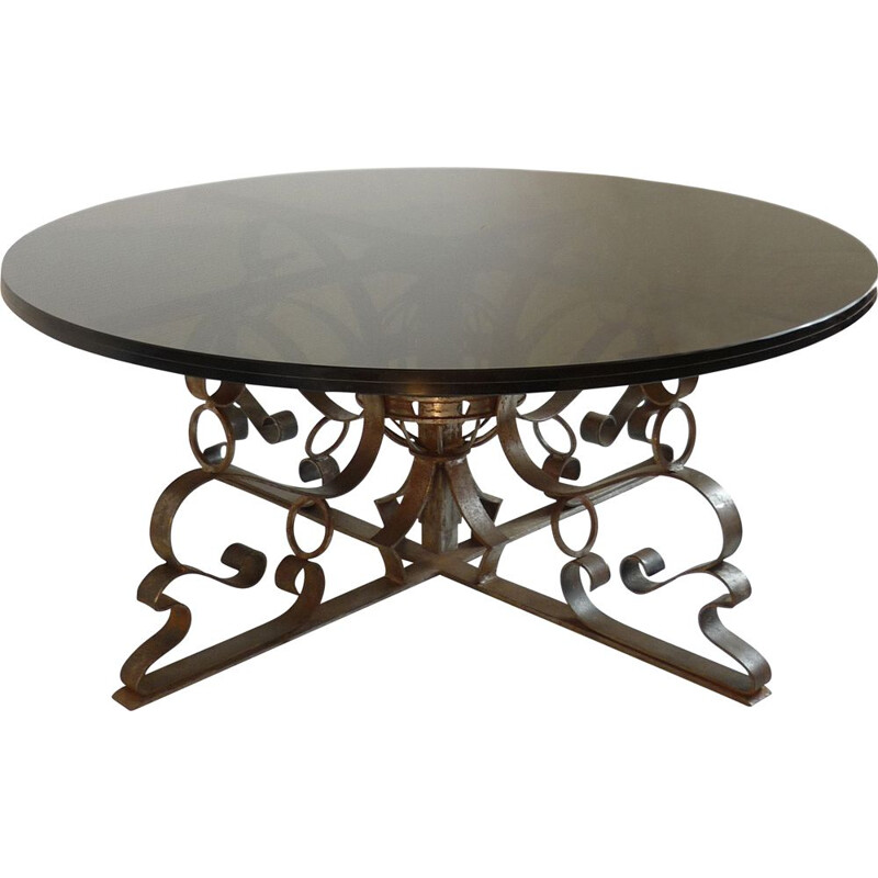 Vintage coffee table in forged steel and smoked glass 1960