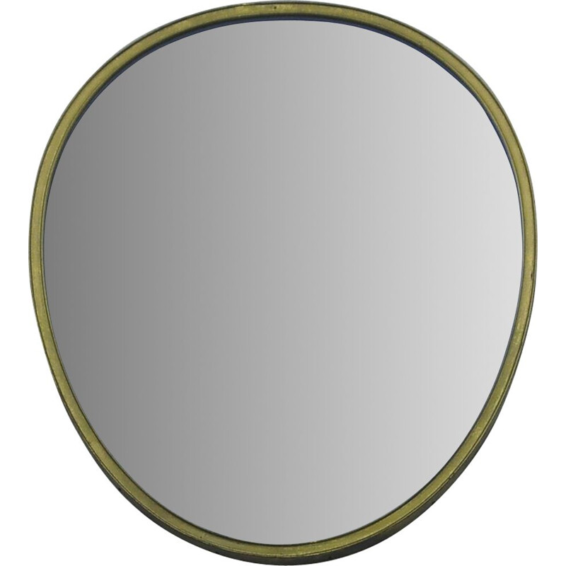 Vintage Egg-Shaped Wall Mirror with Brass Frame, 1950s