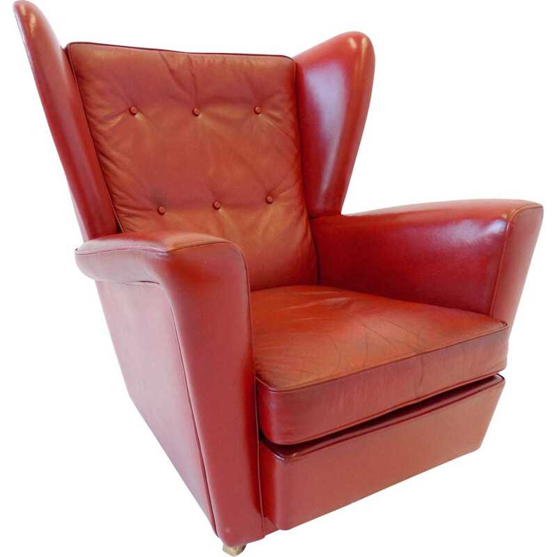 Vintage red leather armchair for HK Furniture Howard Keith