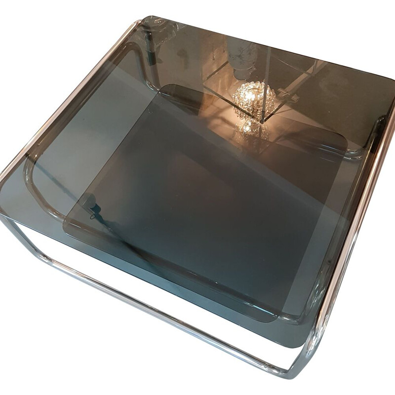 Vintage Coffee table Tubular chromed base, Marcel Breuer 1970