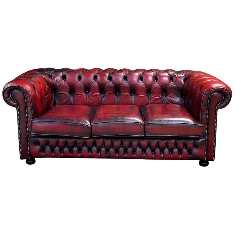 Vintage Chesterfield 3 seater sofa in red leather 1980