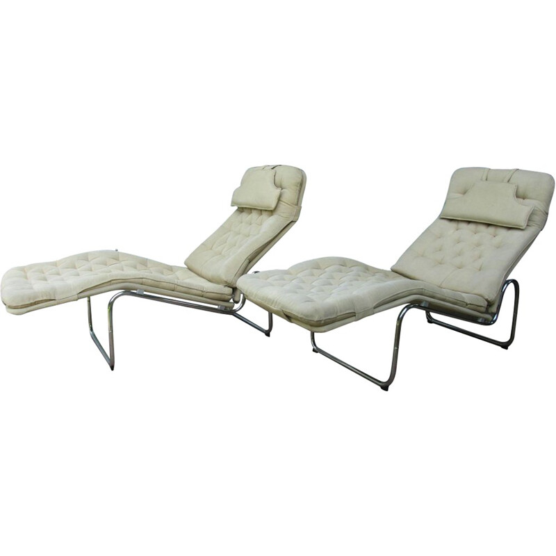 "Pair of ""Kroken"" Ikea lounge chairs in beige cotton, Christer BLOMQUIST - 1970s"